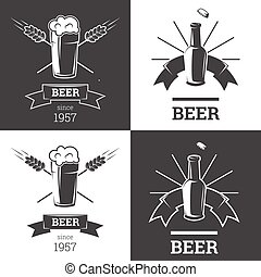 Set of beer insignia logos with glassware isolated on white background. Vintage ale and lager emblem, brewery. Vector elements for label or badge design. EPS illustration.