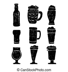 Set of beer mugs and bottle.