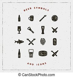 set of beer symbols and icons with letterpress effect. vector illustration