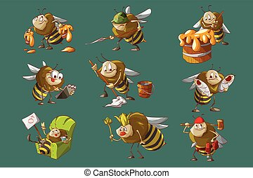 Set of bees illustrations - Colorful vector illustration of...