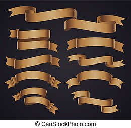 Set of beige curved ribbon or banner