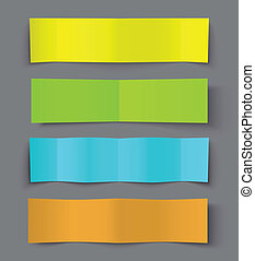 Set of Bended Paper Colorful Banners with shadows, vector...