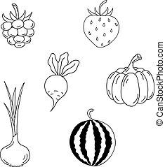 Set of berries and vegetables.