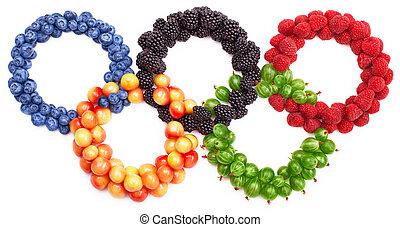 Set of berries arranged as rings