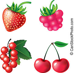 Set of berries objects - Vector set of berries objects