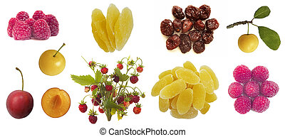 set of berry fruit isolated on white