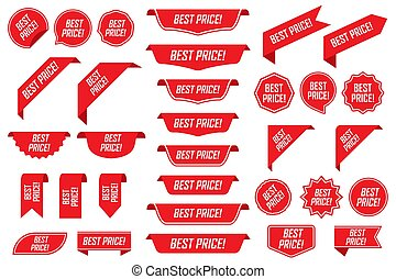 Set of best price in red isolated on white background. Vector illustration