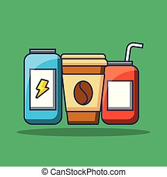 set of beverage soda coffee and energy drink