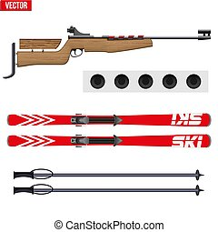 Set of Biathlon sport