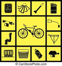 Set of bicycle accessories.