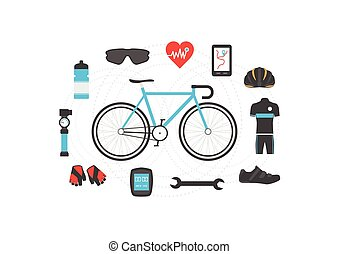 bicycle accessories - set of bicycle accessories on white ...