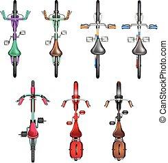 Set of bicycle aerial view
