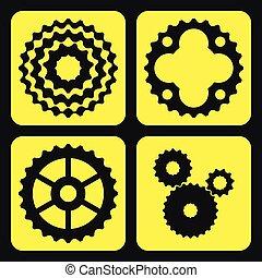 Set of bicycle cogwheels