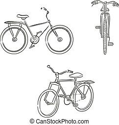 Set of bicycles drawing by lines. Front and profile view. Black and white vector image