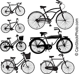 Set of Bicycle Vector isolate on white