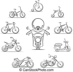 set of bicycles and motorcycles vector illustration isolated...