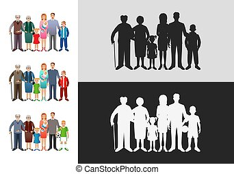 Set of big happy families. Father, mother, son, daughter, grandfather, grandmother, baby.