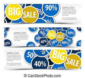 Set of big sale horizontal banners