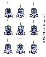 set of big sale labels01 blue