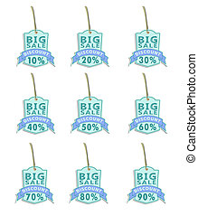 set of big sale labels02 blue