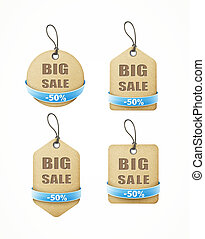 set of big sale paper labels with blue ribbon