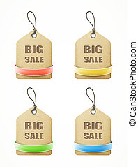 set of big sale paper labels with colorful ribbons