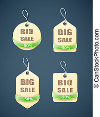 set of big sale paper labels with green ribbon