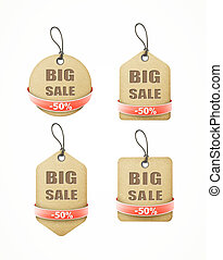 set of big sale paper labels with red ribbon