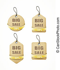 set of big sale paper labels with yellow ribbon