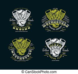 Set of biker club emblem for t-shirt