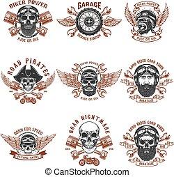 Set of biker emblems. Racer skull with crossed pistons. Extreme motorsport. Design elements for logo, label, emblem, sign.