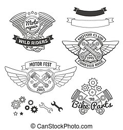 Set of biker vintage labels, oldschool motor logo vector design elements