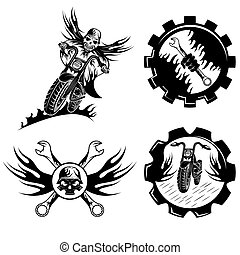 set of bikers theme emblems with skull,flames and wrenches