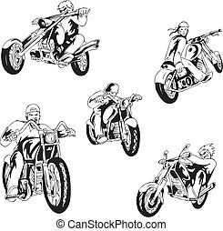 Set of bikers - Vector set of bikers on motorcycles. Black...