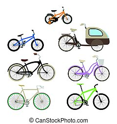 Set of bikes in a flat style.