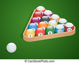 Set of billiard balls. Complete Billiard Balls. Pool billiard balls in a wooden rack. Commonly used starting position. Isometric isolated vector illustration on green gradient background.