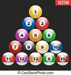 Set of billiard balls for pool