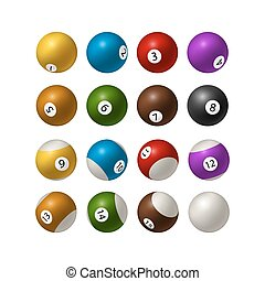 Set of billiard balls isolated on white background. Vector