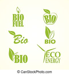 Set of bio and eco labels