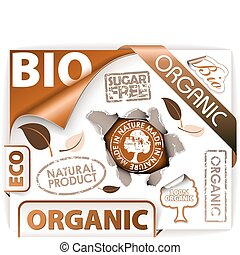 Set of bio, eco, organic elements