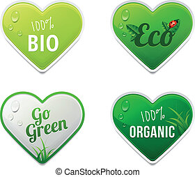 Set of bio, eco, organic stickers