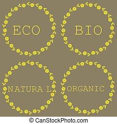 Set of bio, organic, eco, natural labels.