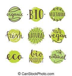 Set of bio, vegan food badges.