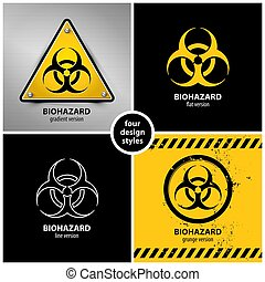 set of biohazard symbols
