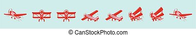 set of biplane cartoon icon design template with various models. vector illustration isolated on blue background