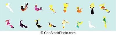set of bird cartoon icon design template with various models. vector illustration isolated on blue background