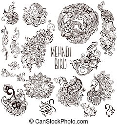 set of birds in the mehendi style
