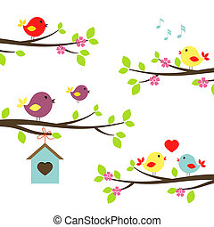 Set of colorful birds on flowering branches in a spring garden tweeting singinging in love and teaching a fledgling to fly above a nesting box vector illustration on white
