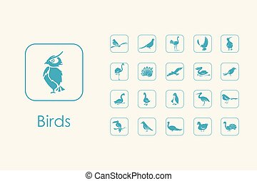 Set of birds simple icons