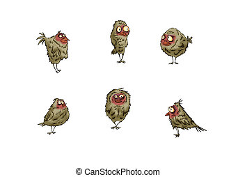 set of birds sparrows in different variations for design on a white background.